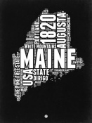 NAXART Studio - Maine Black and White Map