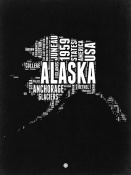 NAXART Studio - Alaska Black and White Map