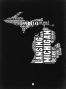 NAXART Studio - Michigan Black and White Map