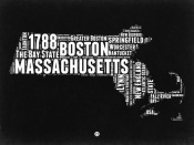 NAXART Studio - Massachusetts Black and White Map