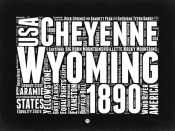 NAXART Studio - Wyoming Black and White Map