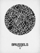 NAXART Studio - Brussels Street Map Black on White