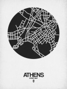 NAXART Studio - Athens Street Map Black on White
