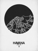 NAXART Studio - Havana Street Map Black on White