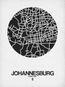 NAXART Studio - Johannesburg Street Map Black on White