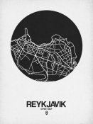 NAXART Studio - Reykjavik Street Map Black on White