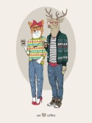 NAXART Studio - Fox Girl And Deer Boy Hipsters