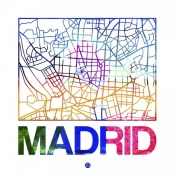 NAXART Studio - Madrid Watercolor Street Map