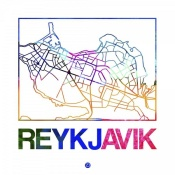 NAXART Studio - Reykjavik Watercolor Street Map