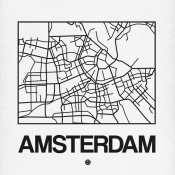 NAXART Studio - White Map of Amsterdam