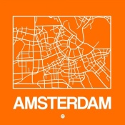 NAXART Studio - Orange Map of Amsterdam