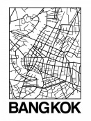 NAXART Studio - White Map of Bangkok