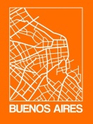 NAXART Studio - Orange Map of Buenos Aires