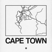 NAXART Studio - White Map of Cape Town