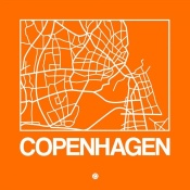 NAXART Studio - Orange Map of Copenhagen