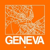 NAXART Studio - Orange Map of Geneva