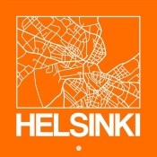 NAXART Studio - Orange Map of Helsinki