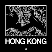NAXART Studio - Black Map of Hong Kong
