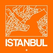 NAXART Studio - Orange Map of Istanbul