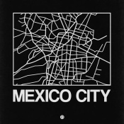 NAXART Studio - Black Map of Mexico City