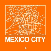 NAXART Studio - Orange Map of Mexico City