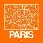 NAXART Studio - Orange Map of Paris