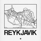 NAXART Studio - White Map of Reykjavik