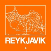 NAXART Studio - Orange Map of Reykjavik