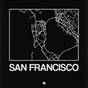 NAXART Studio - Black Map of San Francisco