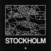 NAXART Studio - Black Map of Stockholm