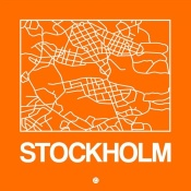 NAXART Studio - Orange Map of Stockholm