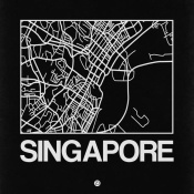 NAXART Studio - Black Map of Singapore