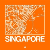 NAXART Studio - Orange Map of Singapore