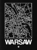 NAXART Studio - Black Map of Warsaw
