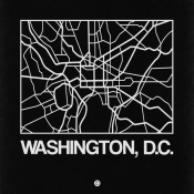 NAXART Studio - Black Map of Washington, D.C.