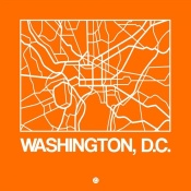 NAXART Studio - Orange Map of Washington, D.C.