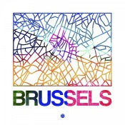 NAXART Studio - Brussels Watercolor Street Map