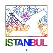 NAXART Studio - Istanbul Watercolor Street Map