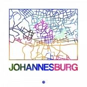 NAXART Studio - Johannesburg Watercolor Street Map