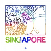 NAXART Studio - Singapore Watercolor Street Map