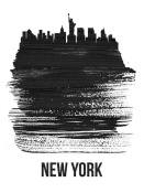 NAXART Studio - New York Skyline Brush Stroke Black