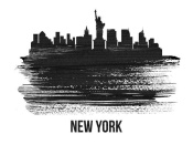 NAXART Studio - New York Skyline Brush Stroke Black II