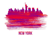 NAXART Studio - New York Skyline Brush Stroke Red