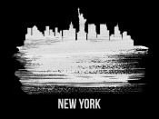 NAXART Studio - New York Skyline Brush Stroke White