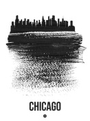 NAXART Studio - Chicago Skyline Brush Stroke Black