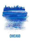NAXART Studio - Chicago Skyline Brush Stroke Blue