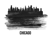 NAXART Studio - Chicago Skyline Brush Stroke Black II