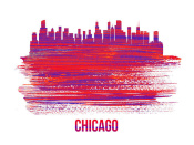 NAXART Studio - Chicago Skyline Brush Stroke Red