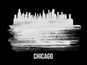 NAXART Studio - Chicago Skyline Brush Stroke White