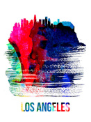 NAXART Studio - Los Angeles Skyline Brush Stroke Watercolor